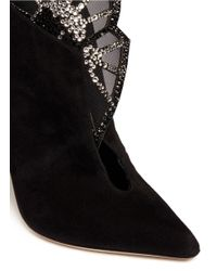 Sergio Rossi Black Crystal Mesh Butterfly Flap Suede Boots
