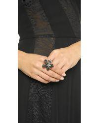 Oscar de la Renta Floral Baguette Ring - Black Diamond/black