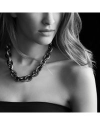David Yurman - Metallic Midnight Mélange Oval Link Necklace with Black and White Diamonds - Lyst