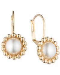 Anne Klein | Metallic Gold-tone Imitation Pearl Drop Earrings | Lyst