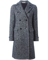 Lardini - Blue Herringbone Double Breasted Coat - Lyst