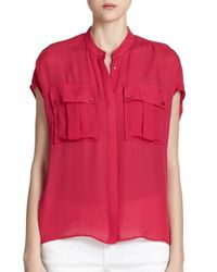 VINCE | Red Silk Cap-sleeve Blouse | Lyst