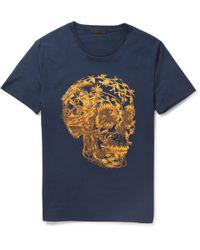 Alexander McQueen Blue Floral Skull Print T-shirt for men