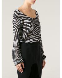 Tom Ford Black Zebra Print Blouse