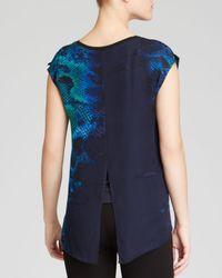 T Tahari - Blue Sadie Snake Print Blouse - Lyst