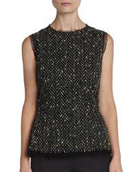 Dolce & Gabbana - Black Sleeveless Tweed Chevron Top - Lyst