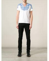 Alexander McQueen White Floral Lace Print Tshirt for men