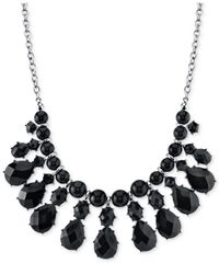 2028 | Silver-Tone Jet Black Bib Necklace | Lyst