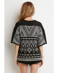 FOREVER21 - Black Marled Diamond-patterned Sweater - Lyst