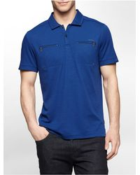Calvin Klein | Blue White Label Classic Fit Zip Detail Liquid Cotton Polo Shirt for Men | Lyst