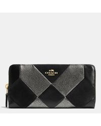 COACH | Black Accordion Zip Wallet In Patchwork Leather | Lyst