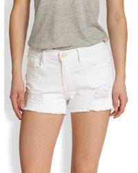 FRAME White Cut Off Denim Shorts