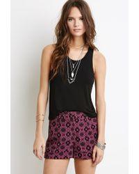 Forever 21 - Pink Ornate Floral Print Shorts - Lyst