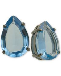 T Tahari | Hematite-tone Blue Crystal Teardrop Stud Earrings | Lyst