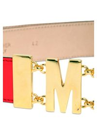Moschino Red 35Mm Leather Logo Low Waist Belt