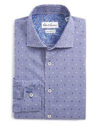 Robert Graham Blue 'romano' Tailored Fit Check Dress Shirt for men