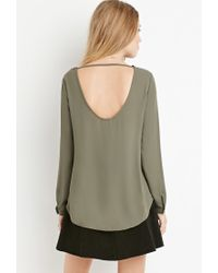 Forever 21 - Green Cutout-back Blouse You've Been Added To The Waitlist - Lyst