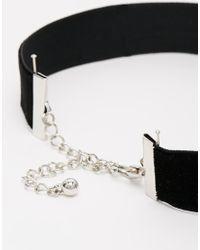 ASOS - Black Diamante Cross Velvet Choker Necklace - Lyst