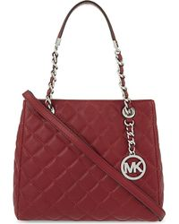 MICHAEL Michael Kors | Red 'susannah' Quilted Shoulder Bag | Lyst