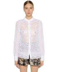 N°21 - White Embroidered Silk Organza Shirt - Lyst