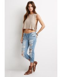 Forever 21 | Brown Distressed Muscle Tee | Lyst