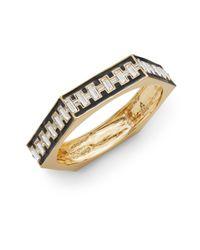 CC SKYE - Black Deco Enameled Baguette Bangle Bracelet - Lyst