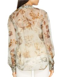 Lauren by Ralph Lauren Gray Petite Sheer Floral Blouse And Camisole