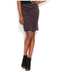 RACHEL Rachel Roy Blue Animalprint Pencil Skirt