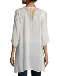 Johnny Was | Natural Cynthia 3/4-sleeve Embroidered Tunic | Lyst