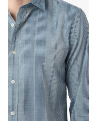 7 For All Mankind - Vertical Striped Shirt In Marine Blue for Men - Lyst
