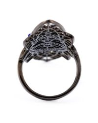 Joelle Jewellery | Black Oversized Geometric Diamond Ring | Lyst