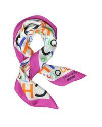 Moschino Purple Boutique Chic Print Twill Silk Square Scarf