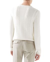 Gucci White Cable Knit Sweater for men