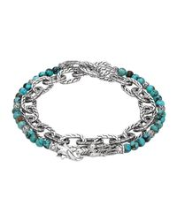 John Hardy | Blue Turquoise With Black Matrix & Chain Wrap Bracelet for Men | Lyst