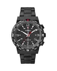 Timex - Men's Intelligent Quartz Adventure Series Compass Black Ion-plated Stainless Steel Bracelet Watch 42mm T2p288ab for Men - Lyst
