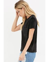 Forever 21 | Black Velvet Pocket Top | Lyst