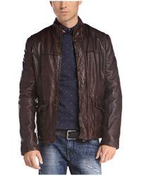 BOSS Orange Brown Sheepskin Leather Jacket 'jerian' for men
