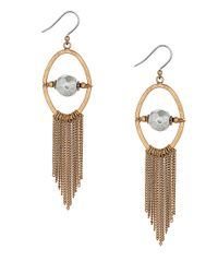 Lucky Brand | Metallic Fringe And Bead Chandelier Earrings | Lyst