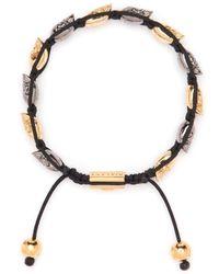Nialaya - Black Rhodium-plated Skull Bracelet for Men - Lyst
