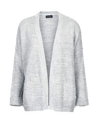 TOPSHOP Gray Boxy Stitch Cardigan