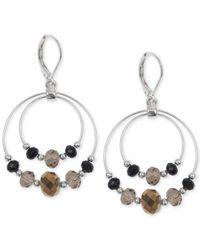 Jones New York | Metallic Silver-tone Brown And Black Bead Double Orbital Earrings | Lyst