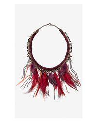 Express Red Burgundy Thread Wrapped Feather Fringe Necklace