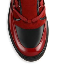 Bally - Red Mixed Media High-top Hiker Sneakers for Men - Lyst
