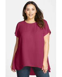 Vince Camuto | Red Short Sleeve High/Low Hem Blouse | Lyst