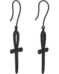 Lynn Ban Black Diamond Black Rhodiumplated Silver Ankh Drop Earrings