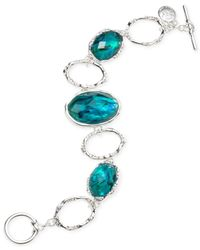 Jones New York | Blue Silver-tone Oval Stone Toggle Bracelet | Lyst