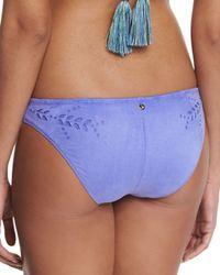 Ále By Alessandra Blue Holy Cow Cutout-side Swim Bottom