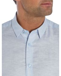 Without Prejudice - Blue Plain Tailored Fit Button Down Shirt for Men - Lyst