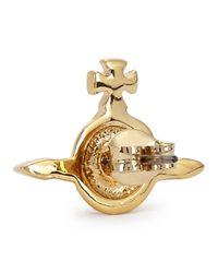 Vivienne Westwood Metallic Gold Tone Orb Earrings