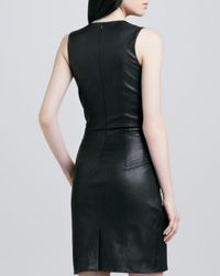 L'Agence Black Stretch Leather Dress